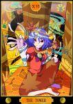 onbashira purple_hair red_eyes short_hair tarot touhou yasaka_kanako