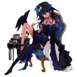 bare_shoulders bird bird_on_leg black_hair blue_eyes bracelet cake chair crow cupcake dress earrings elbow_gloves food fork gloves high_heels jewelry long_hair mizushirazu necklace original pastry ring shoes single_glove single_thighhigh solo table thigh-highs thighhighs