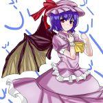 blue_hair hat niwatori_gunsou red_eyes remilia_scarlet short_hair smile solo touhou wings