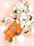 bad_id barefoot blush bow fujiwara_no_mokou hair_bow hair_ribbon hands_in_pockets la-do long_hair red_eyes ribbon silver_hair solo suspenders touhou