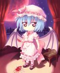 blood blue_hair bow broken chair chibi cup curtains hat mary_janes moon night night_sky orange_eyes orita_enpitsu red_eyes red_moon remilia_scarlet shoes short_hair sky stain standing teacup touhou wings