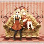 aki_minoriko aki_shizuha blonde_hair hat highres kyrie_(artist) leaf leaves multiple_girls red_eyes short_hair siblings sisters touhou yellow_eyes