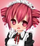 1girl blush drill_hair fang highres kasane_teto maid maid_headdress open_mouth pitui1996 red_eyes red_hair ribbon solo twin_drills twintails utau vocaloid