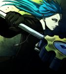 1boy a5_arashi blue_hair claymore_(sword) cloak gloves kingdom_hearts long_hair pointy_ears saix scar solo yellow_eyes