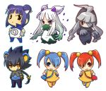 >:< :< abomasnow ahoge animal_ears bandages black_hair blue_eyes blue_hair blush_stickers character_request chibi dress dusclops gloves gradient_hair grey_hair hair_ornament hands_in_pockets hands_on_hips hitec jacket looking_at_viewer luxray minun moemon multicolored_hair multiple_girls open_mouth outline personification plusle pokemon ponytail red_eyes redhead simple_background slit_pupils smile standing tagme thighhighs translation_request twintails violet_eyes white_background white_hair yellow_eyes