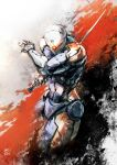 cropped_legs cyborg fighting_stance gray_fox helmet highres mar-c! metal_gear_solid one-eyed reverse_grip solo
