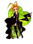 1girl antenna_hair b-number04 blonde_hair boots cloak green_eyes kingdom_hearts larxene sleeves_past_wrists solo