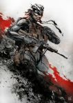 1boy assault_rifle bodysuit cqc cropped_legs dual_wielding eyepatch facial_hair gun headband highres holster knife load_bearing_vest m16 mar-c! metal_gear_solid_4 mustache old_snake pistol reverse_grip rifle sneaking_suit solid_snake solo trigger_discipline weapon white_hair
