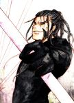 1boy black_hair cloak earrings gloves jewelry kingdom_hearts lance pointy_ears polearm ponytail sideburns solo violet_eyes weapon xaldin xion81314
