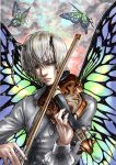 1boy absurdres antennae bow_(instrument) butterfly_wings clone green_eyes grey_hair half-closed_eyes highres hunter_x_hunter instrument long_sleeves male marlboro_(artist) miniboy multiple_persona playing_instrument shaiapouf signature sparkle violin wings