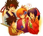 1girl 3boys brown_hair flower hair_flower hair_ornament headband himura_kenshin japanese_clothes kamiya_kaoru kimono long_hair multiple_boys myoujin_yahiko orange_hair ponytail red_eyes rurouni_kenshin sagara_sanosuke scar shinai smile spiky_hair sword tsubuta_hiro violet_eyes weapon white_background yukata
