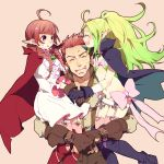 1boy 2girls :o ^_^ ahoge bangs bikini_top blunt_bangs blush boots bow braid brown_gloves cape carrying circlet closed_eyes dragon_girl dress family father_and_daughter fingernails fire_emblem fire_emblem:_kakusei flat_chest frills garter_belt gloves green_hair grego guttary heart holding_hands husband_and_wife long_hair long_sleeves midriff mother_and_daughter multiple_girls navel nintendo nn_(fire_emblem) nono_(fire_emblem) open_mouth parted_bangs pink_legwear pointy_ears ponytail profile purple_gloves redhead short_shorts shorts sideways_mouth simple_background size_difference sleeveless sweat thighhighs twin_braids violet_eyes wavy_hair white_dress zettai_ryouiki