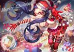 1girl blue_hair blush breasts christmas glasses gloves hat j.lili long_hair open_mouth original red_eyes sack santa_costume santa_hat skirt smile solo thighhighs toy