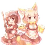 2girls :d alcohol alternate_costume animal_ears apron beer beer_mug black_hair black_neckwear blonde_hair blush bow bowtie broom brown_eyes chopsticks common_raccoon_(kemono_friends) cowboy_shot cup extra_ears eyebrows_visible_through_hair fang fennec_(kemono_friends) food fox_ears fox_tail fur_collar fur_trim grey_hair hair_ribbon holding holding_broom holding_cup holding_plate kemono_friends kemono_friends_festival lace lace-trimmed_thighhighs looking_at_viewer maid maid_apron maid_headdress matsuu_(akiomoi) mini_flag multicolored_hair multiple_girls omurice open_mouth plate raccoon_ears raccoon_tail ribbon short_sleeves simple_background smile tail thigh-highs white_background yellow_legwear yellow_neckwear zettai_ryouiki