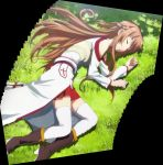 1girl asuna_(sao) bare_shoulders blush boots braid cloak closed_eyes grass highres long_hair pov resting screencap shade sleeping stitched sword_art_online thigh_boots thighhighs tree yuuki_asuna
