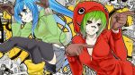 2girls alternate_hair_color black_legwear blue_eyes blue_hair boots brown_gloves cable city cityscape eyelashes gloves green_hair grin gumi hands_up hatsune_miku headphones highres hoodie jumping leaning_forward leather_gloves lip_piercing lip_ring matryoshka_(vocaloid) miniskirt multiple_girls piercing pleated_skirt poaro pointing red_eyes ringed_eyes skirt smile tattoo thighhighs vocaloid zipper