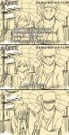 1boy 1girl 3koma ^_^ ^o^ arao blush breasts building closed_eyes comic couple covering_face hakama hat highres hiryuu_(kantai_collection) interview jacket japanese_clothes kantai_collection long_sleeves microphone monochrome oriental_umbrella parody personification power_lines scarf short_hair side_ponytail snow snowing special_feeling_(meme) umbrella wide_sleeves winter_clothes yamaguchi_tamon