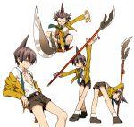belt black_hair character_sheet necktie polearm pose shaman_king shorts tao_ren weapon yellow_eyes zakki