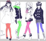 4girls amagi_yukiko blue_legwear boots cabbie_hat green_legwear hairband hat high_heels hime_cut kujikawa_rise multiple_girls orangemango pantyhose persona persona_4 pink_legwear red_legwear satonaka_chie scarf shirogane_naoto shoes short_hair sneakers winter_coat
