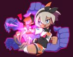 1girl bangs bea_(pokemon) black_bodysuit black_hairband bodysuit bodysuit_under_clothes bow_hairband clenched_hands collared_shirt commentary_request dynamax_band gen_1_pokemon gloves grey_eyes grey_hair gym_leader hair_between_eyes hairband highres knee_pads machamp number open_mouth partially_fingerless_gloves pokemon pokemon_(creature) pokemon_(game) pokemon_swsh print_shirt print_shorts rudosan shirt short_hair short_sleeves shorts side_slit side_slit_shorts single_glove tied_shirt