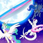celestia_(my_little_pony) crossover cutie_mark dragon_ball dragon_ball_z frieza horn lowres luna_(my_little_pony) moon my_little_pony my_little_pony_friendship_is_magic open_mouth shocked_eyes smile tail wings