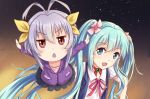 2girls ahoge aqua_eyes aqua_hair brown_eyes crossover hand_puppet hatsune_miku long_hair miyauchi_renge multiple_girls non_non_biyori open_mouth outstretched_arms puppet purple_hair reki_(lichk) spread_arms twintails vocaloid