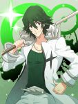 1boy green_hair hisagi-y4 kill_la_kill male over_shoulder sanageyama_uzu shinai solo sword uniform weapon weapon_over_shoulder