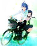 1boy 1girl bicycle black_hair blue_eyes blue_hair glasses isi88 long_hair manami_sangaku miyahara_(yowamushi_pedal) short_hair twintails yowamushi_pedal