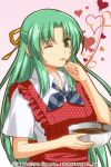 1girl ;p apron bowl chocolate green_eyes green_hair hair_ribbon heart higurashi_no_naku_koro_ni izumi_natsuka ribbon sonozaki_shion tongue valentine wink