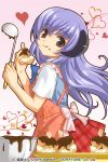 1girl :q apron chocolate cream_puff food food_on_face grey_eyes hanyuu heart higurashi_no_naku_koro_ni horns izumi_natsuka ladle plaid plaid_skirt purple_hair skirt tongue valentine