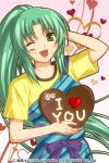 1girl ;d apron chocolate chocolate_heart english food food_on_face green_eyes green_hair hand_behind_head heart higurashi_no_naku_koro_ni izumi_natsuka open_mouth ponytail smile sonozaki_mion valentine wink