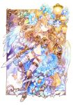 1girl angel_wings armor bandage_over_one_eye belt blonde_hair blue_eyes butterfly elaborate_frame flower frame gloves hair_flower hair_ornament long_hair midriff navel original panties purple_panties rioka_(southern_blue_sky) shoulder_pads solo sword thighhighs underwear weapon wings
