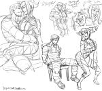 1boy 1girl alternate_costume bdsm bodysuit bondage bound_wrists breasts chair cleavage cody_travers collage couple cuffs dancing diepod facial_hair grin han_juri handcuffs laughing prison_clothes short_twintails sitting sitting_on_lap sitting_on_person sketch smile spiky_hair street_fighter stubble twintails watermark web_address