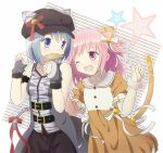 2girls alternate_costume animal_ears belt blue_eyes blue_hair cabbie_hat casual cat_ears cat_tail dress food fur_trim gloves hair_down hat kaname_madoka kemonomimi_mode kirikuchi_riku mahou_shoujo_madoka_magica miki_sayaka multiple_girls paw_pose pink_eyes pink_hair tail taiyaki wagashi wink