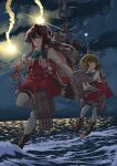 2girls adapted_turret black_hair blazer bob_cut boots bow bowtie brown_eyes cannon clouds cross-laced_footwear dress green_hair grey_legwear hairband highres jacket kantai_collection lace-up_boots long_hair long_sleeves mast multicolored_hair multiple_girls naganami_(kancolle) night ocean outdoors pantyhose pink_hair remodel_(kantai_collection) rigging sagoromo_04 shirt short_hair short_hair_with_long_locks sidelocks sleeveless sleeveless_dress smokestack standing standing_on_liquid standing_on_one_leg takanami_(kancolle) thigh-highs thigh_strap torpedo_launcher turret two-tone_hair wavy_hair white_hairband white_shirt