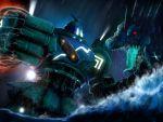 battle cosmo_(465lilia) feraligatr golurk kaijuu no_humans pacific_rim parody pokemon pokemon_(creature) pokemon_(game) super_robot waves