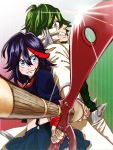 1boy 1girl back-to-back black_hair blue_eyes green_eyes green_hair kill_la_kill matoi_ryuuko multicolored_hair sanageyama_uzu scissor_blade senketsu shinai short_hair smile streaked_hair sword weapon yakata_(artist)