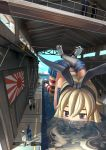 arms_behind_back blonde_hair blue_eyes blush bound_wrists cuffs dated dock elbow_gloves giantess gloves hairband handcuffs highres kantai_collection long_hair luanluan midriff miniskirt partially_translated personification pleated_skirt red_legwear rising_sun sailor_collar shimakaze_(kantai_collection) skirt sleeveless solo_focus striped striped_legwear top-down_bottom-up translation_request white_gloves