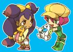 2girls beartic big_hair blue_background boots brown_eyes cabbie_hat chibi dark_skin dragonite green_eyes hair_ornament hat iris_(pokemon) langley_(pokemon) long_hair low-tied_long_hair multiple_girls pink_hair plush pokemon pokemon_(anime) pokemon_(creature) purple_hair short_hair skirt skyloop19 thigh_boots thighhighs two_side_up very_long_hair wide_sleeves