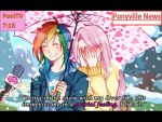 2girls blush couple covering_face fluttershy interview long_hair microphone multicolored_hair multiple_girls my_little_pony my_little_pony_friendship_is_magic open_mouth parody personification rainbow_dash short_hair smile snow snowing special_feeling_(meme) umbrella winter_clothes yuri