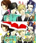 1girl 3boys hat kurosu_jun lisa_silverman mishina_eikichi multiple_boys persona persona_2 santa_hat sobe_(tokimekashi) suou_tatsuya