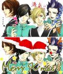 1girl 3boys hat kurosu_jun lisa_silverman mishina_eikichi multiple_boys persona persona_2 santa_hat sobe_(tokimekashi) suou_tatsuya