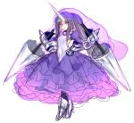 1girl black_hair blush cloyster dress frilled_dress frills gauntlets greaves hands_on_hips horn lance long_dress personification pokemon polearm purple_dress rough solo umitsuki veil violet_eyes weapon