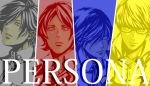 4boys arisato_minato column_lineup multiple_boys multiple_monochrome narukami_yuu persona persona_1 persona_2 persona_3 persona_4 sobe_(tokimekashi) suou_tatsuya toudou_naoya yuuki_makoto
