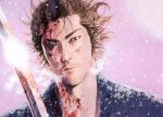 blood male manga miyamoto_musashi samurai scan snow sword vagabond winter