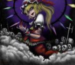 aouji blonde_hair blood fangs flandre_scarlet hat red_eyes side_ponytail skull touhou vampire wings