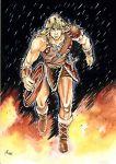 armor belt blonde_hair boots castlevania circlet fire male muscle rain signature simon_belmont sword whip
