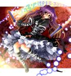 brown_hair cape danmaku dress gradient_hair high_heels hijiri_byakuren katahira_masashi knee_boots lace long_hair multicolored_hair petticoat purple_hair scroll shoes smile solo touhou yellow_eyes
