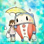 1girl 1other animal bags bear brown_hair doraeshi doujima_nanako kuma_(persona_4) megami_tensei pac-man_eyes persona persona_4 rain shared_umbrella teardrop tonari_no_totoro umbrella