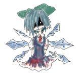 blood blue blue_hair bow cirno creepy evil grin hair_bow touhou wings